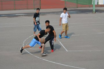 guys playing basketball